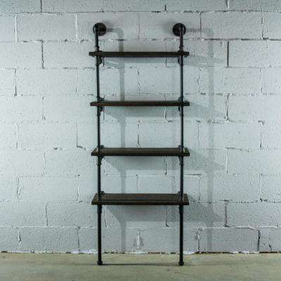 Black Steel Pipe Industrial 4-Shelf Bookcase with Reclaimed-aged wood.