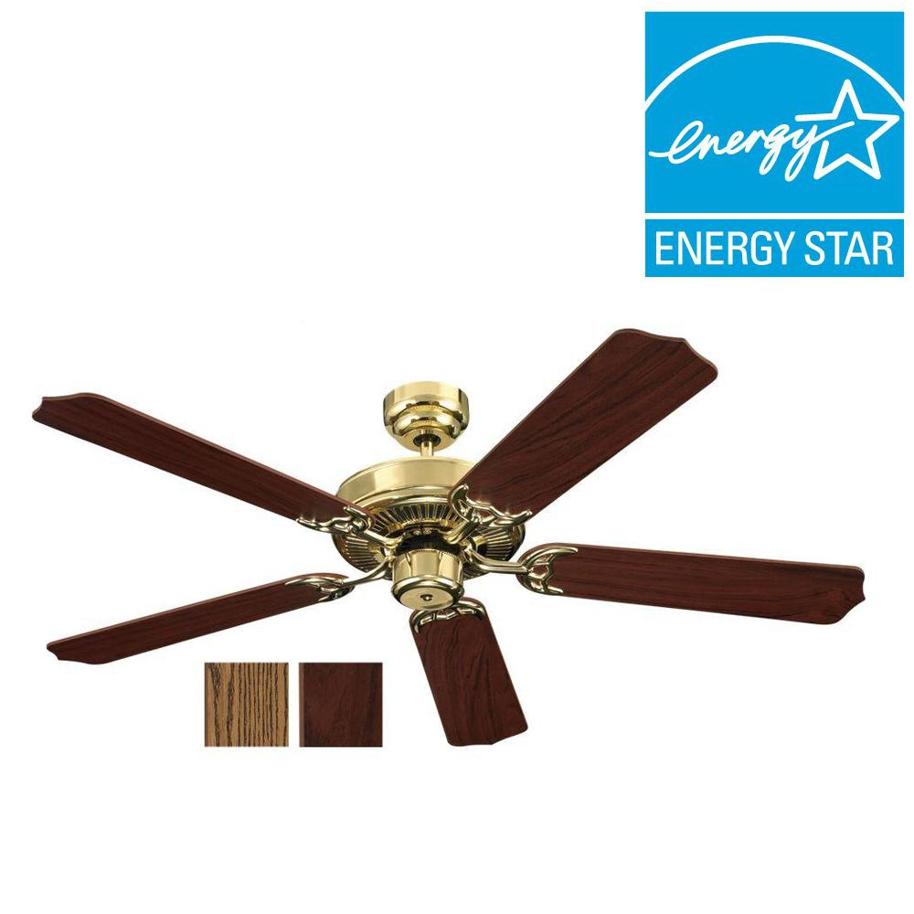 Sea Gull Lighting Quality Max 52 in. Polished Brass Indoor Ceiling Fan