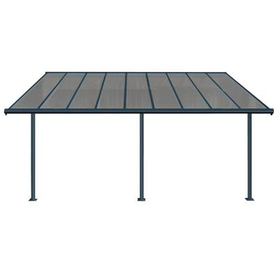 Sierra 10 ft. x 18 ft. Gray/Bronze Patio Cover Awning