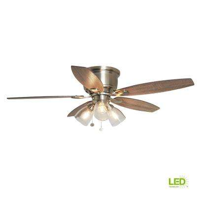 Stoneridge 52 in. LED Indoor Brushed Nickel Hugger Ceiling Fan with Light Kit