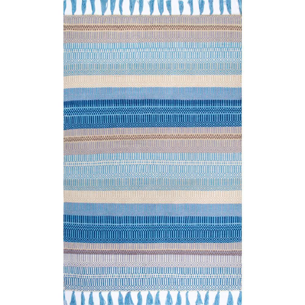 Lucile Striped Coastal Light Blue 5 ft. x 8 ft.  Indoor/Outdoor Area Rug