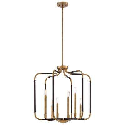 Liege 6-Light Aged Kinston with Brass Highlights Pendant