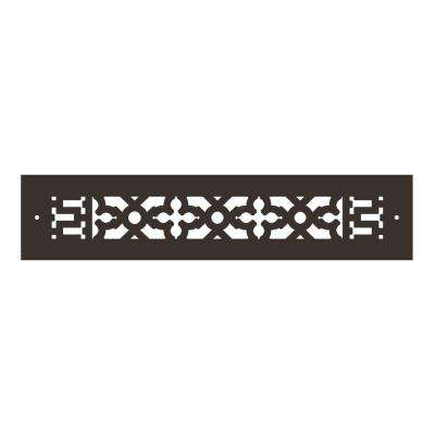 Scroll Series 14 in. x 2-1/4 in. Aluminum Grille, Oil Rubbed Bronze with Mounting Holes