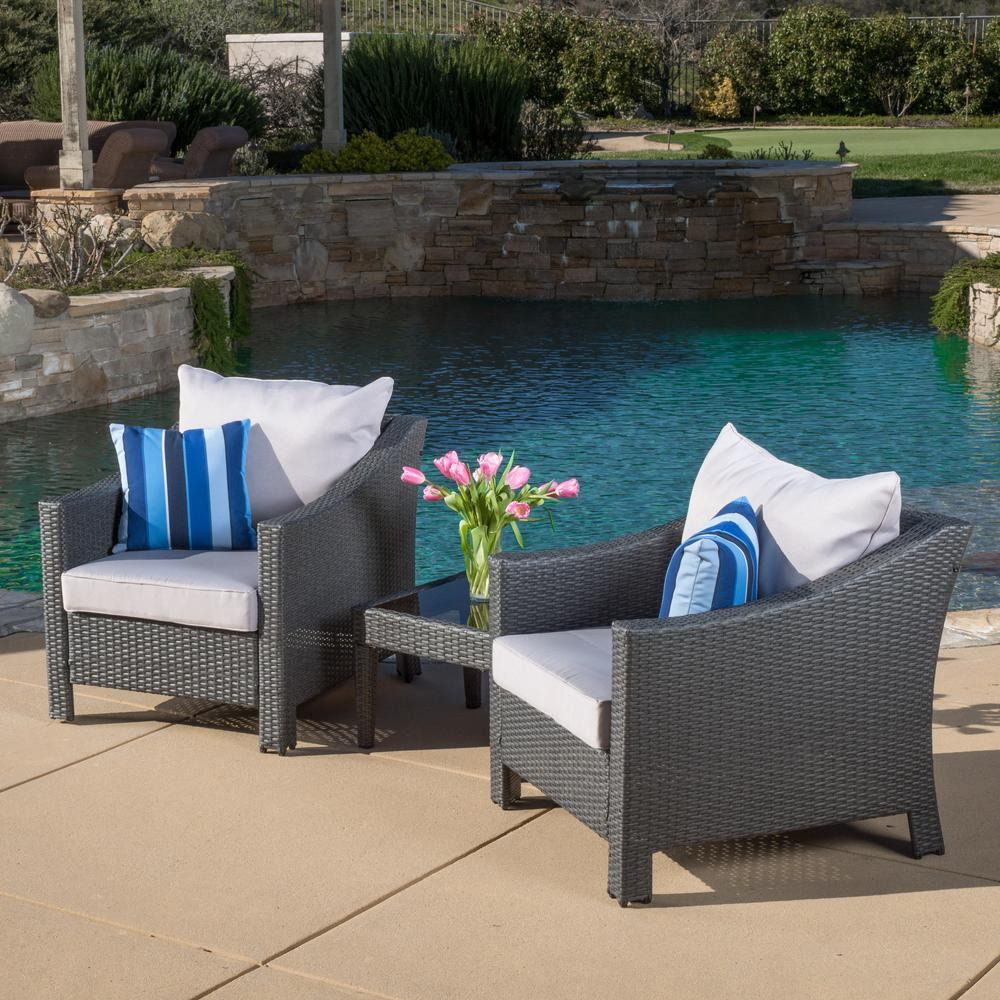 Antibes Grey 3-Piece Wicker Patio Conversation Set with Silver Cushions