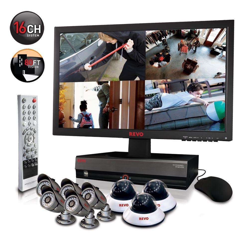 Revo 16 CH 3TB DVR4 Surveillance System with 23 in. Monitor and (8) 600 TVL 80 ft. Nightvision Cameras-DISCONTINUED