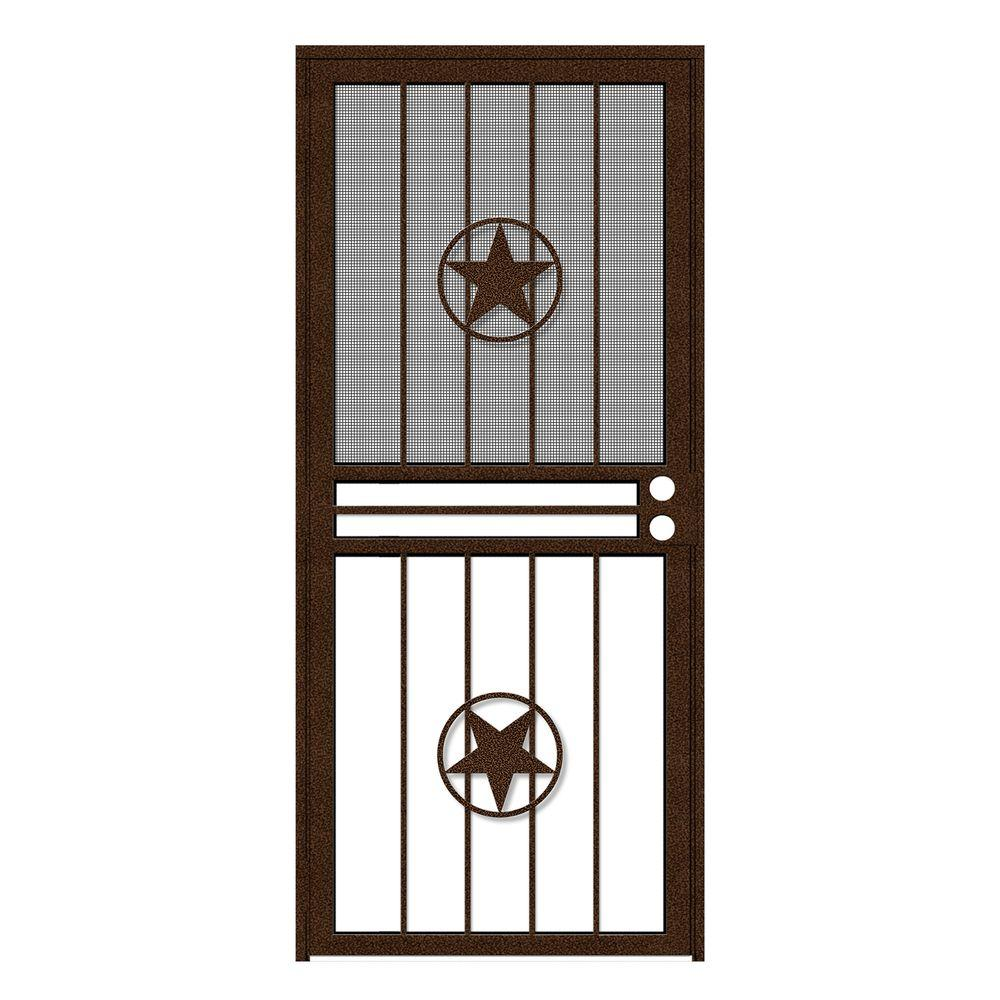 Unique Home Designs 34 in. x 80 in. Lone Star Copperclad Recessed Mount All Season Security Door with Insect Screen and Glass Inserts