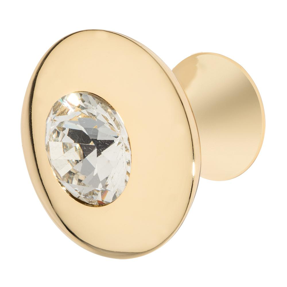 Wisdom Stone Felicia 1-1/4 in. Polished Gold with Clear Crystal Cabinet Knob