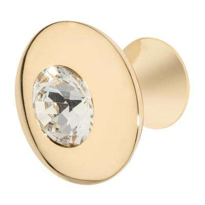 Felicia 1-1/4 in. Polished Gold with Clear Crystal Cabinet Knob