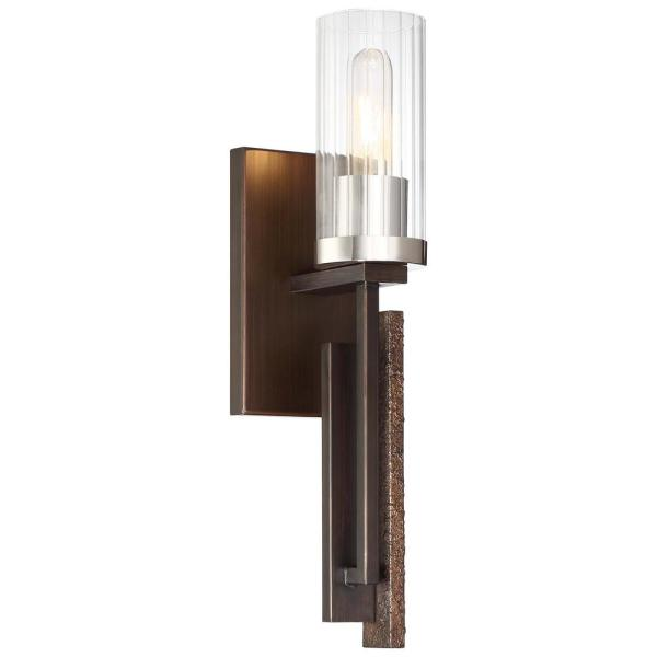 Maddox Roe 1-Light Iron Ore with Gold Dust Highlights Wall Sconce