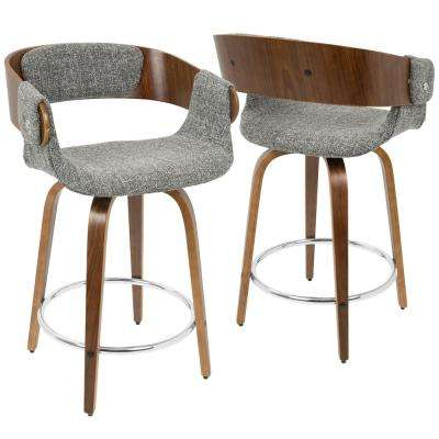 Eliza Walnut and Grey Mid-Century Modern Counter Stool