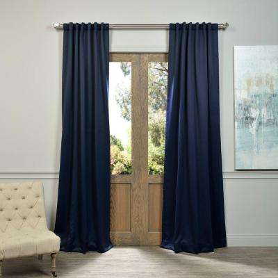 Semi-Opaque Navy Blue Blackout Curtain - 50 in. W x 84 in. L (Panel)