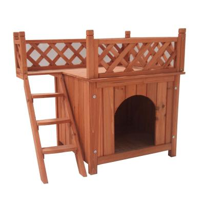 28 in. x 20 in. x 25 in. Wooden Dog Kennel Cedar Pet Home Luxurious Side Steps Balcony Pet Lounger