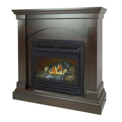36 in. 20,000 BTU Compact Convertible Ventless Natural Gas Fireplace in Tobacco