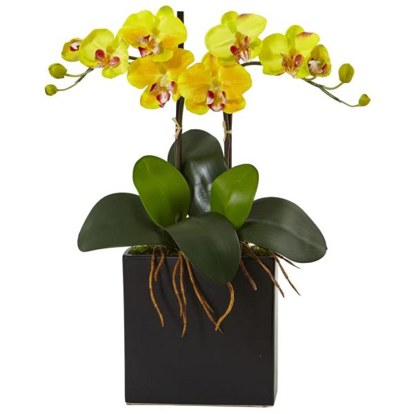 73a3d93f4f Nearly Natural Double Mini Phalaenopsis Silk Orchid 1483-YL - The ...