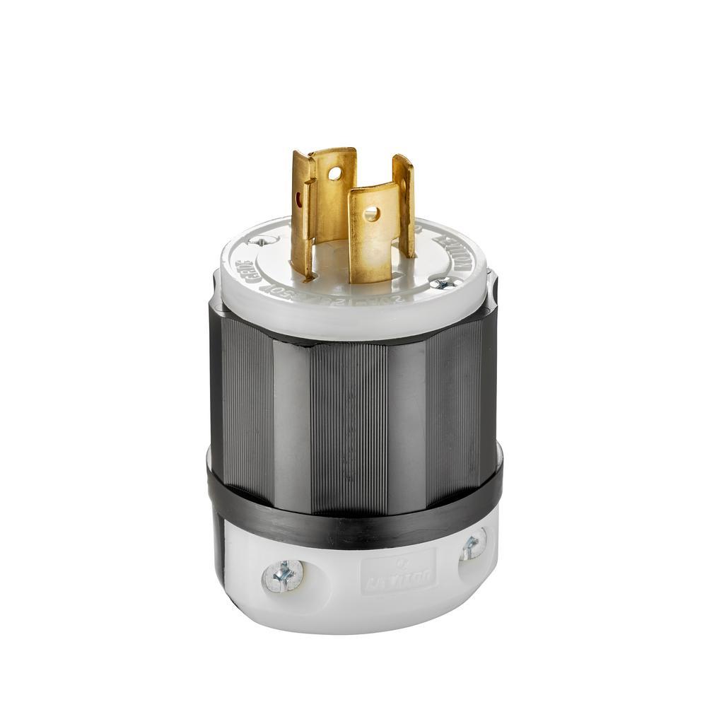 20 Amp 125/250-Volt Locking Plug, Black and White