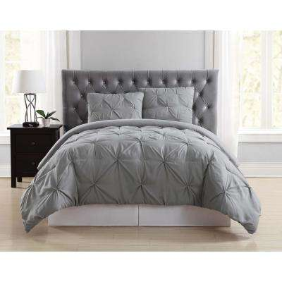 Everyday Pleated Grey Full/Queen Duvet Set