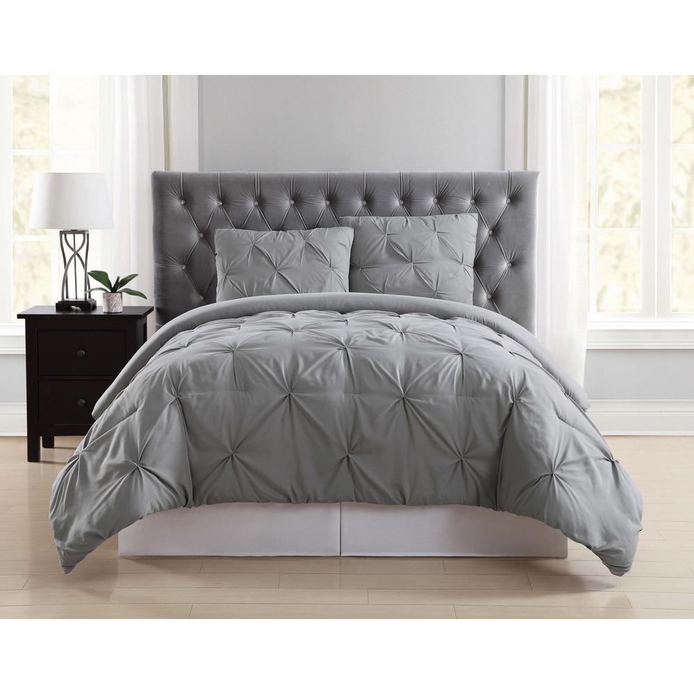 Truly soft everyday pleated grey full queen duvet set
