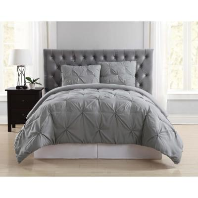 Everyday Pleated Grey Twin XL Duvet Set