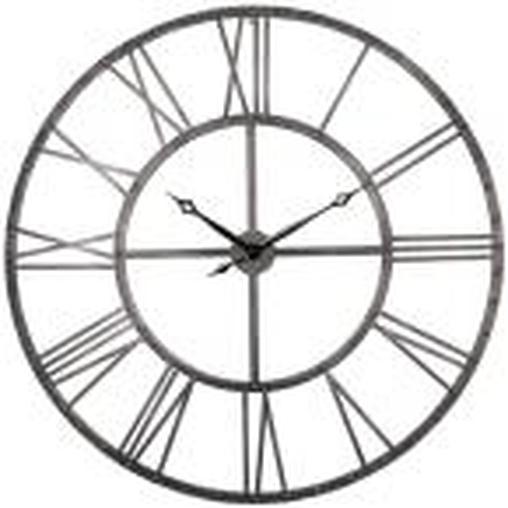 "Rivet Roman Industrial Oversize Wall Clock, Gray, 45"""