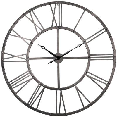 Rivet Roman Industrial Oversize Wall Clock, Gray, 45""