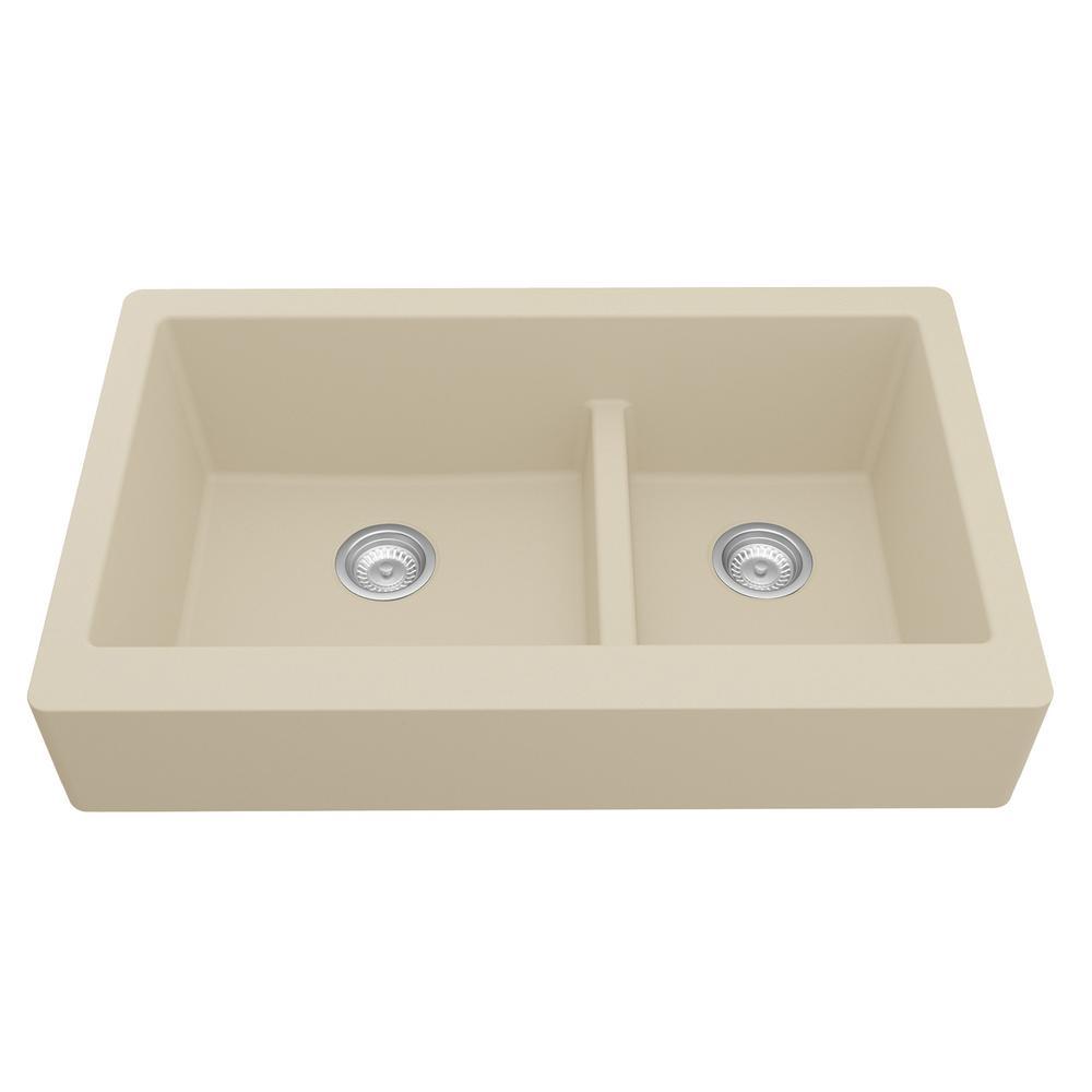 Retrofit Farmhouse/Apron-Front Quartz Composite 34 in. Double Offset Bowl Kitchen Sink in Bisque
