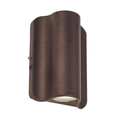 1 Light Bronze Outdoor Integrated LED Wall Mount Sconce
