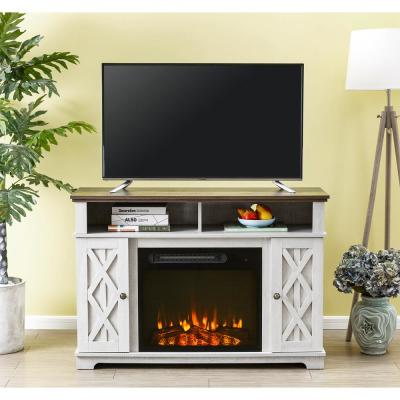 48 in. White TV Stand for TVs up to 55 in. with Electric Fireplace