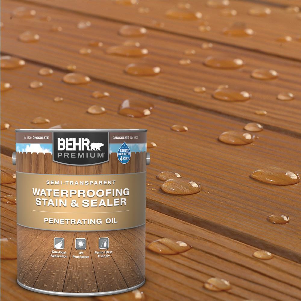 BEHR Premium 1 Gal. #ST-129 Chocolate Semi-Transparent Penetrating Oil-Based Exterior Waterproofing Wood Stain