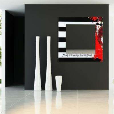 """36 in. x 36 in. """"Fashion"""" Square Beveled Mirror on Free Floating Reverse Printed Tempered Art Glass"""