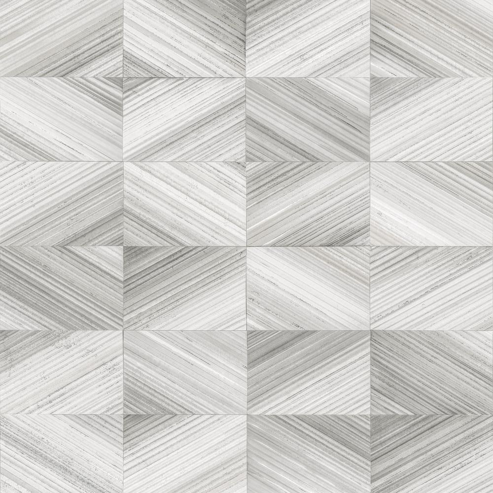 56.4  sq. ft. Stratum Grey Geometric Wood Wallpaper