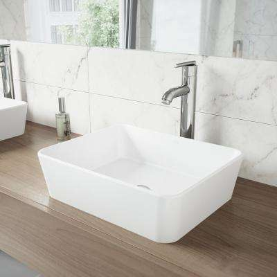 Sirena Matte Stone Vessel Sink in White with Seville Bathroom Vessel Faucet in Chrome