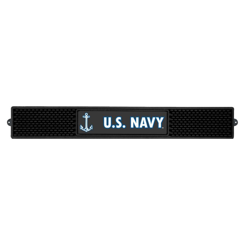 3.25 in. x 24 in. Black U.S. Navy Drink Mat