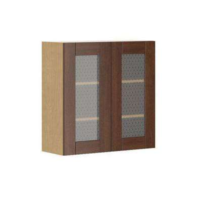Lyon Wall Cabinet In Maple Melamine And Glass