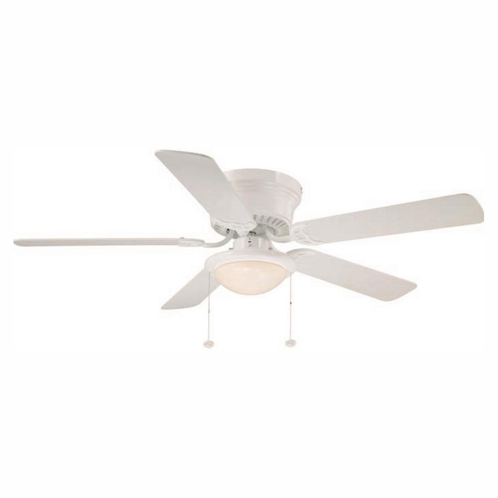 Hugger 52 in. LED Indoor White Ceiling Fan with Light Kit