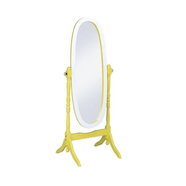 Large Yellow Wood Tilting Modern Mirror (59.25 in. H X 21 in. W)