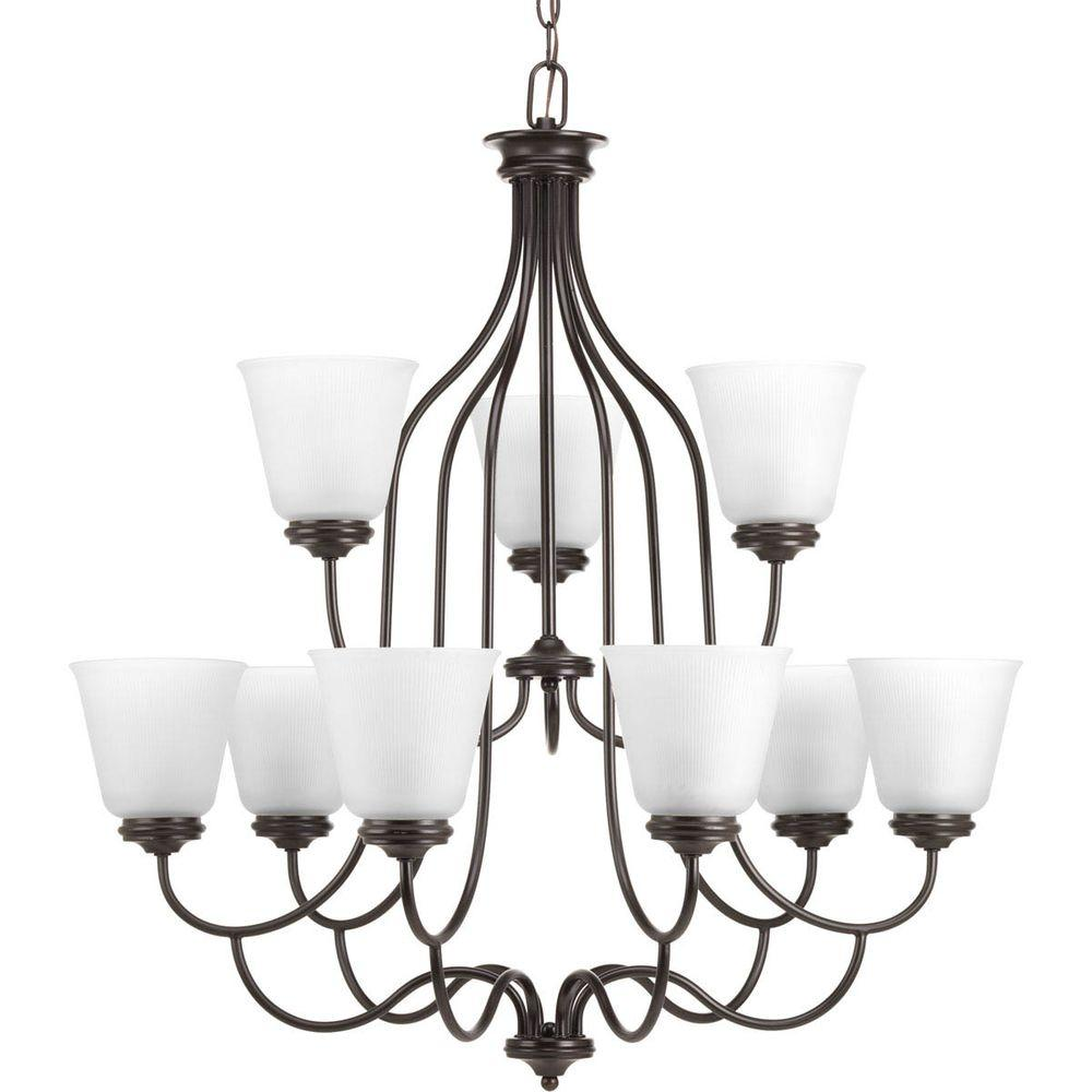 Progress Lighting Keats Collection 9-Light Antique Bronze Chandelier with Frosted Ribbed Glass