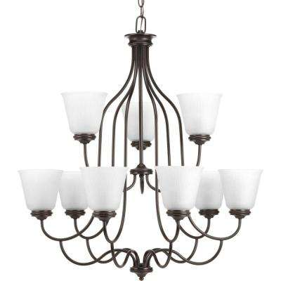 Keats Collection 9-Light Antique Bronze Chandelier with Frosted Ribbed Glass