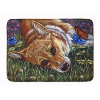 19 in. x 27 in. Corgi Pastel Butterfly Machine Washable Memory Foam Mat