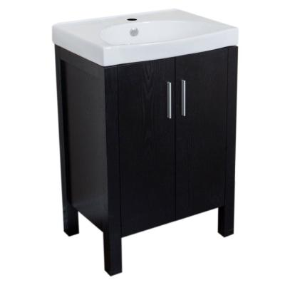 Stanwood 24 in. W x 18.5 in. D Single Vanity in Black with Vitreous China Vanity Top in White with White Basin
