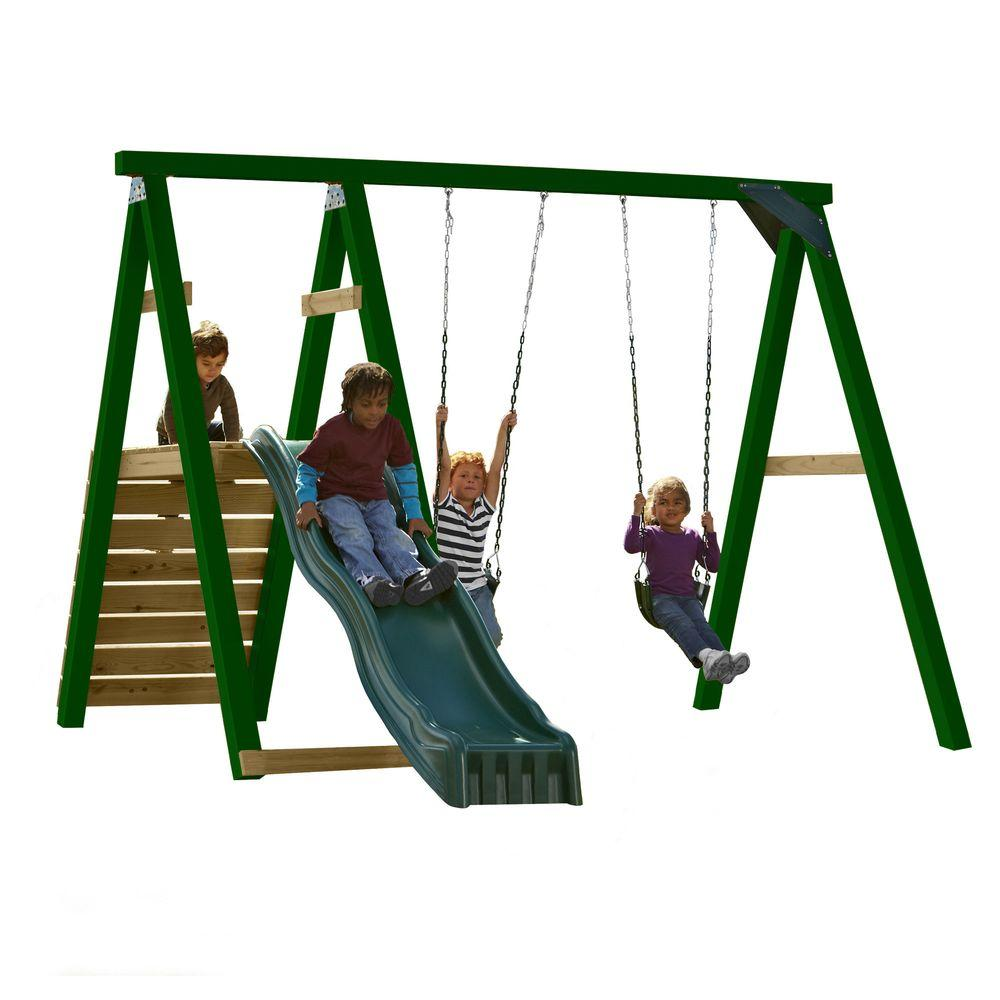 Swing-N-Slide Playsets Pine Bluff Wood Complete Play Set with Slide