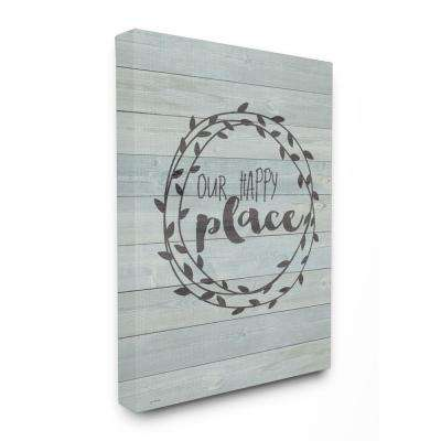 """30 in. x 40 in. """"Our Happy Place Plank Wood Look"""" by Jo Moulton Printed Canvas Wall Art"""