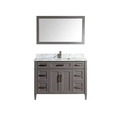Savona 48 in. W x 22 in. D x 36 in. H Vanity in Grey with Single Basin Vanity Top in White and Grey Marble and Mirror