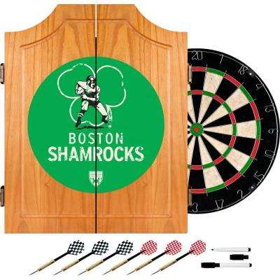 VAF 21 in. Boston Shamrocks Wood Dart Board Cabinet Set