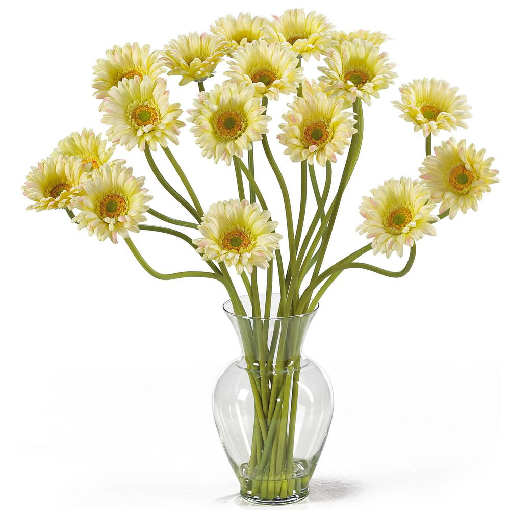 Nearly Natural 21 in. Gerber Daisy Liquid Illusion Silk Flower Arrangement in Cream Take a look at this Gerber Daisy silk arrangement. Fun, excitement, and color only begin to describe its beauty. Standing 21 in. tall this exciting piece features eighteen stems of Gerber Daisy's set in a classic glass vase with artificial water. If you're looking to brighten up your home or office decor, well. You've just found a winner. Available in five gorgeous shades: beauty, orange, pink, red, yellow and mixed.