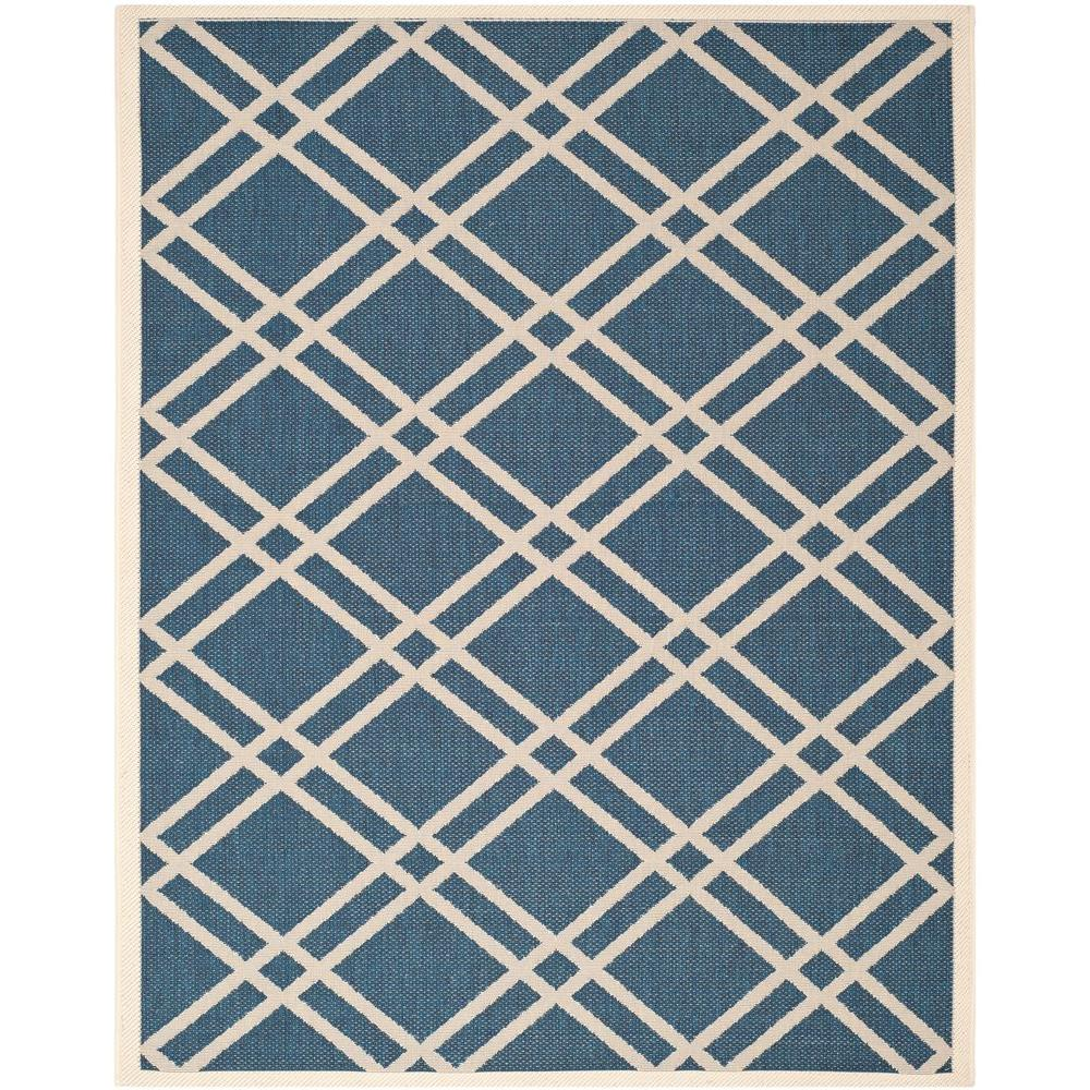 Safavieh Courtyard Navy/Beige 9 ft. x 12 ft. Indoor/Outdoor Area Rug