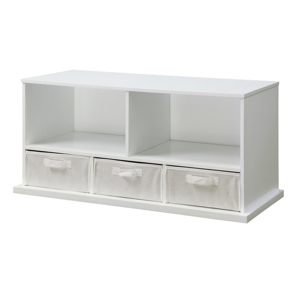 37 in. W x 16.5 in. D White Stackable Shelf Storage