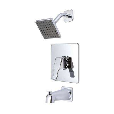 i3 1-Handle Wall Mount Tub and Shower Trim Kit in Polished Chrome with 4 in. Sqaure Showerhead (Valve Not Included)