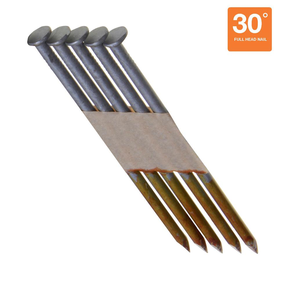Grip-Rite 3-1/4 in. x 0.131 in. 30° Offset Round Head Hot Dipped Galvanized Smooth Shank Nails (1,000 per Pack)
