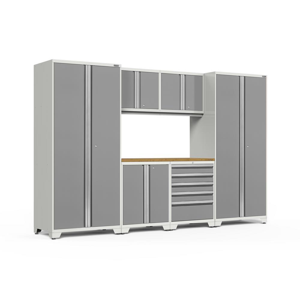 Pro 3.0 128 in. W x 83.25 in. H x 24 in. D 18-Gauge Welded Steel Bamboo Worktop Cabinet Set in Platinum (7-Piece)