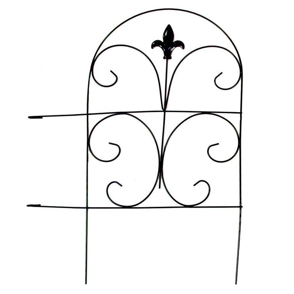 vigoro 18 in  romantic steel garden fence-51032